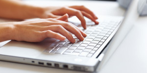 Woman searching for Lyme disease information on internet.
