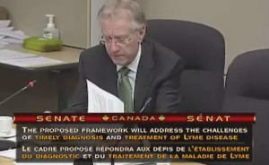 Senator Art Eggleton addresses committee regarding Lyme disease bill.