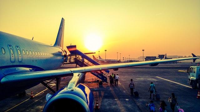 airport, plane, travelers