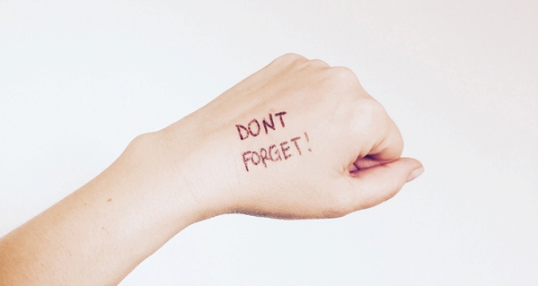 "Patient with POTS and brain fog writing on hand ""don't forget"""