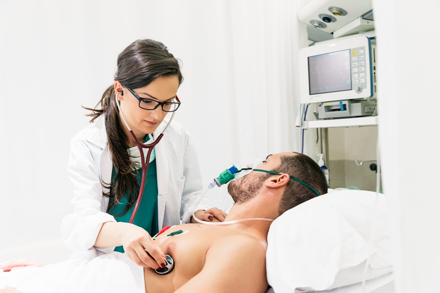 patient with a lyme carditis diagnosis being examined in the hospital room